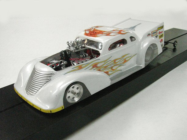 """38 Super Custom Pro Mod Drag Sot Car -Pearl White"