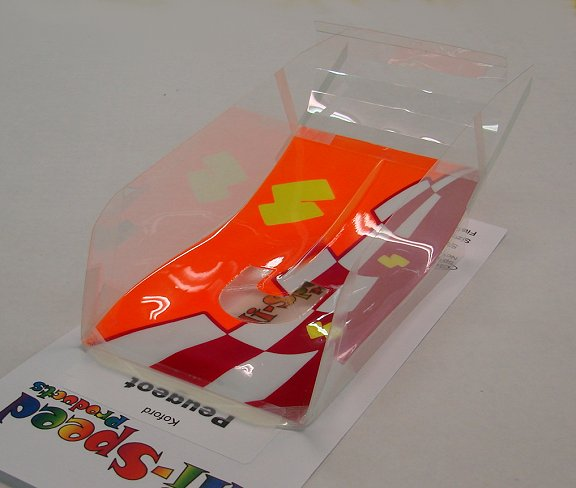 Hi-Speed Products Pro Mounted &quot;Koford Peugeot&quot; -<i>Neon Blocks</i> Winged Slot Car Body