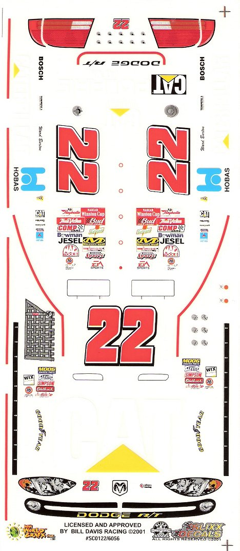 22 Cat Nascar Slixx High Quality Vinyl Decal